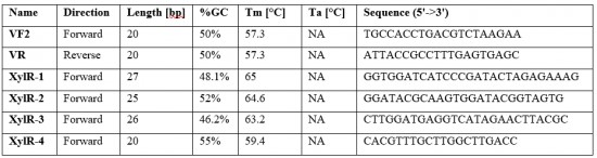 Table 3 Primers used to sequence the plasmids