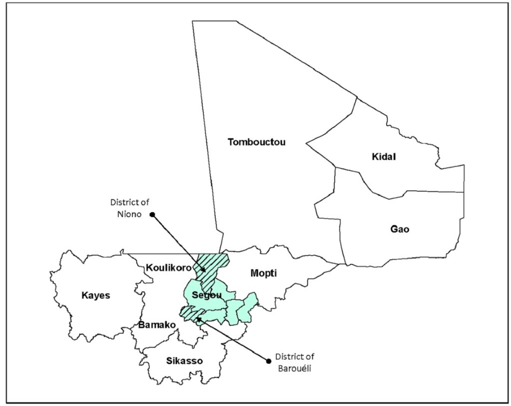 Map of Mali showing the two health districts selected for the RMM study in Ségou Region. doi:10.1371/journal.pone.0132164.g001